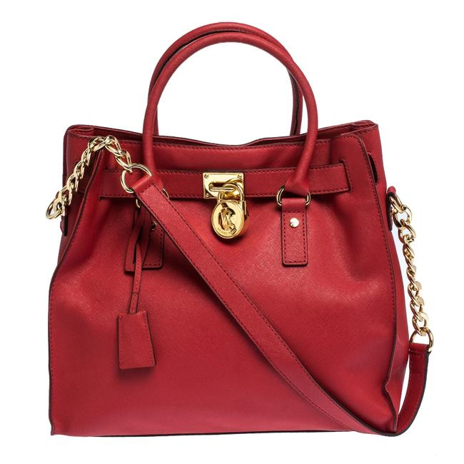 Item - Red Leather Large Hamilton North South Tote