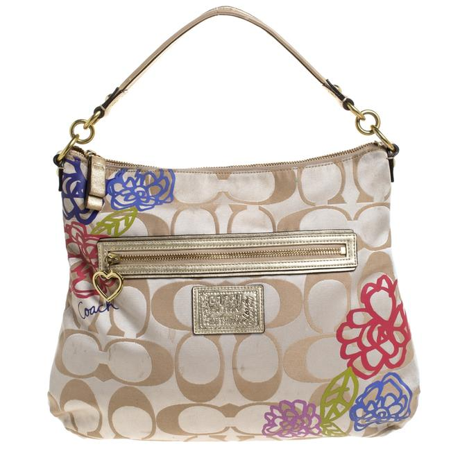 Item - Beige/Gold Flower Print Canvas and Leather Hobo Bag