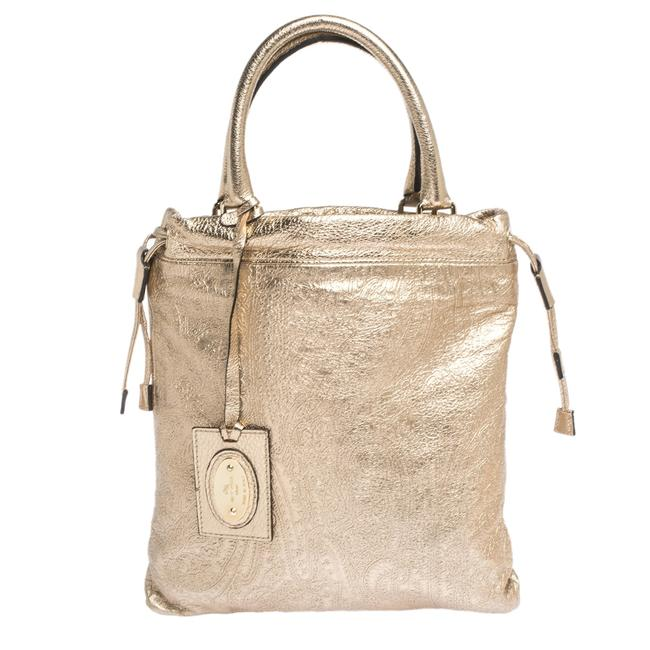 Item - Metallic Gold Paisley Embossed Leather Drawstring Tote