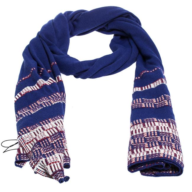Item - Blue Striped Knit Silk Blend Stole Scarf/Wrap