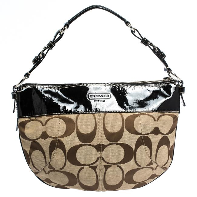 Item - Beige/Black Signature Canvas and Patent Leather Hobo Bag