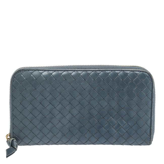 Item - Blue Intrecciato Leather Zip Around Wallet