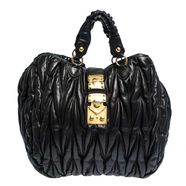 Miu Miu Black Matelasse Leather Hobo Bag Miu Miu Black Matelasse Leather Hobo Bag Image 1