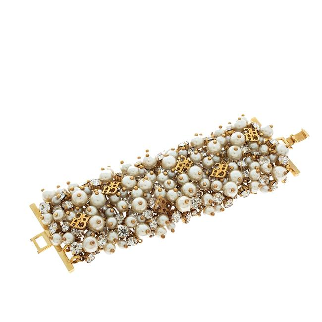 Item - Crystal Faux Pearl Gold Tone Wide Bracelet Jewelry