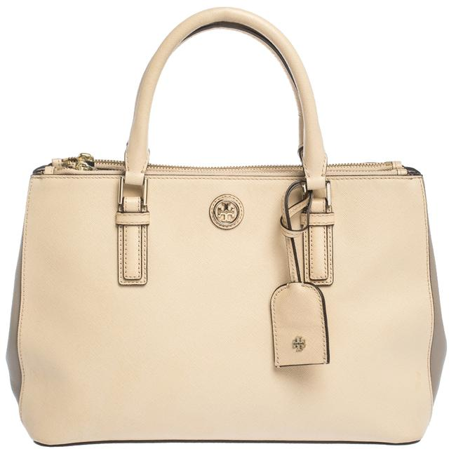 Item - Robinson Beige/Grey Leather Double Zip Tote