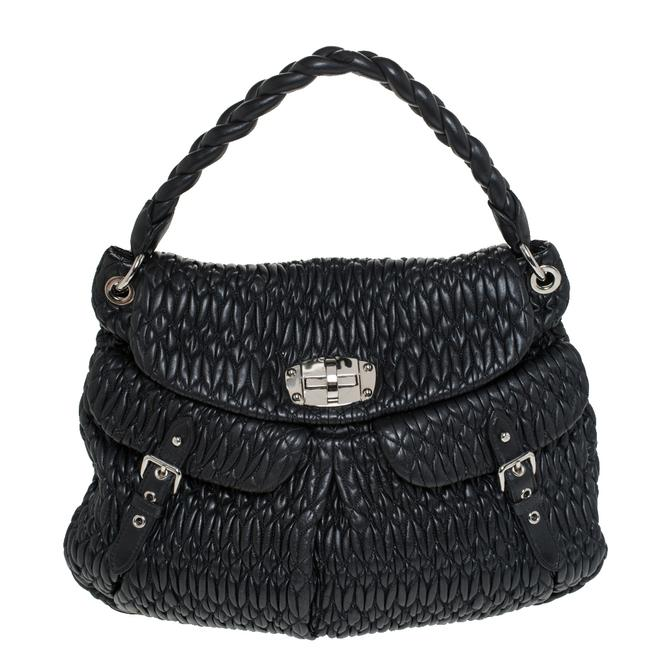 Miu Miu Black Matelasse Leather Turnlock Flap Hobo Bag Miu Miu Black Matelasse Leather Turnlock Flap Hobo Bag Image 1