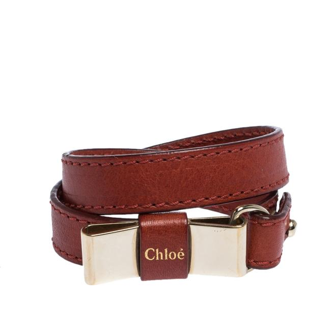 Chloé Leather Bow Motif Gold Tone Double Wrap Bracelet Jewelry Chloé Leather Bow Motif Gold Tone Double Wrap Bracelet Jewelry Image 1