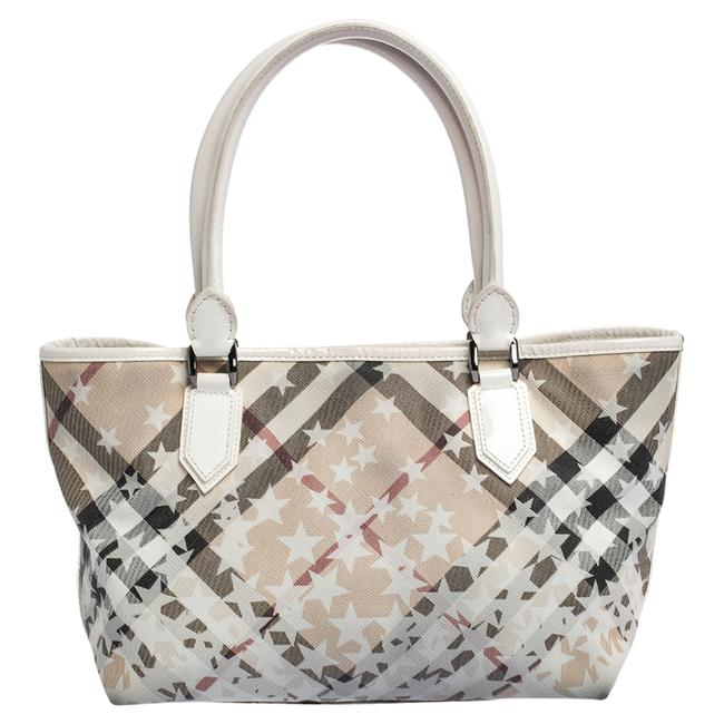Item - White Nova Check Pvc and Patent Leather Nickie Stars Tote