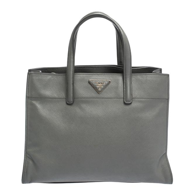 Item - Double Lux Grey Saffiano Leather Handle Tote