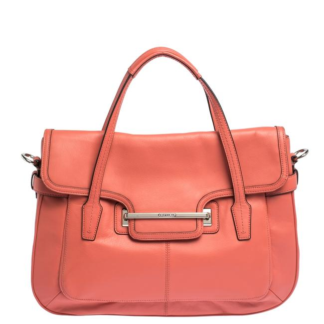 Item - Coral Orange Leather Taylor Marin Flap Satchel