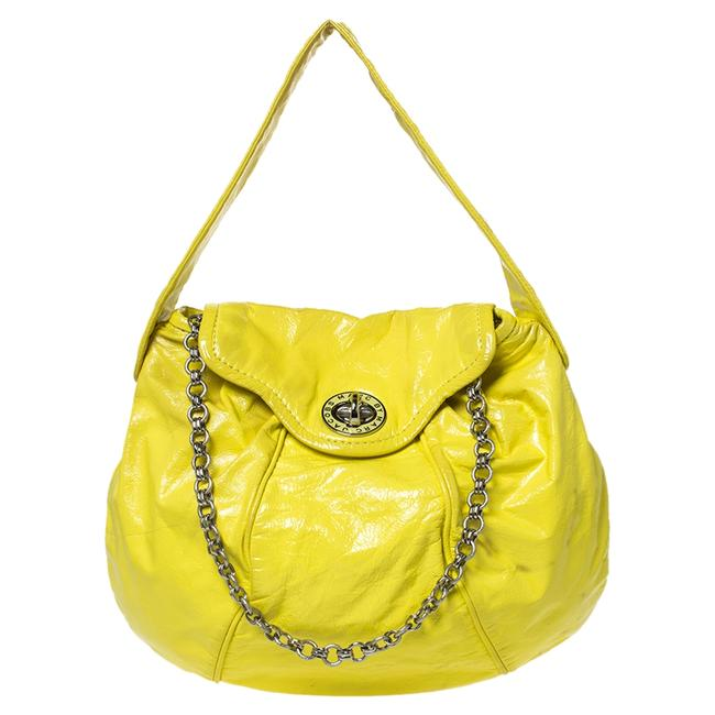 Item - Yellow Patent Leather Turnlock Flap Chain Hobo Bag