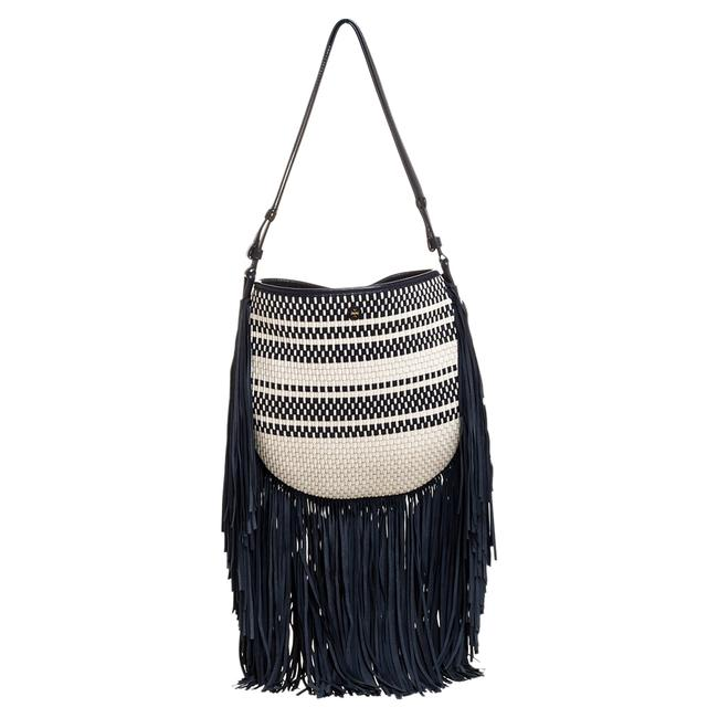 Item - Blue/White Woven Leather and Fabric Fringe Hobo Bag