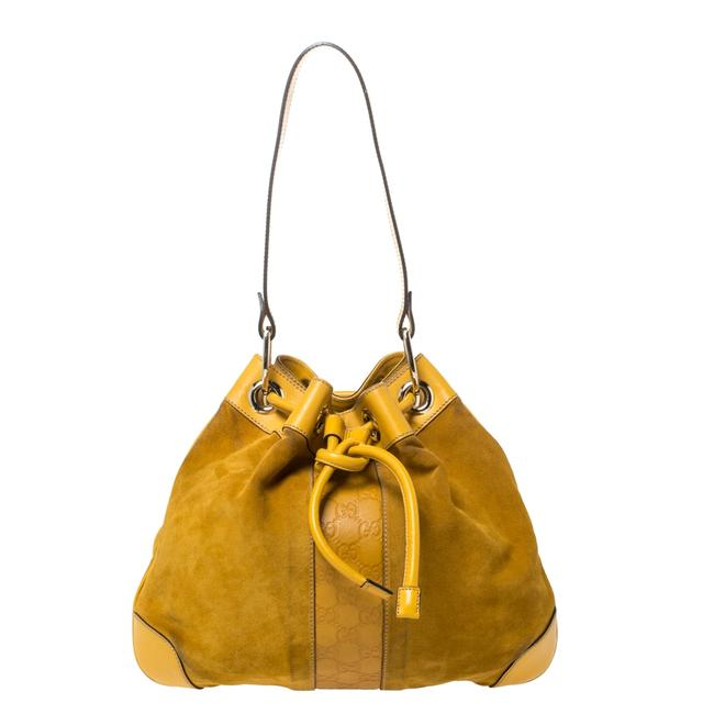 Item - Mustard Suede and Leather Drawstring Hobo Bag