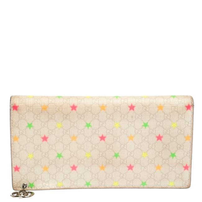 Item - White Micro Gg Supreme Canvas Neon Stars Continental Wallet