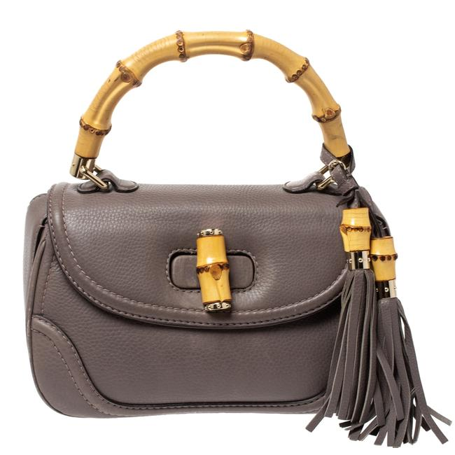Item - New Bamboo Top Handle Bag Taupe Leather Tassel Wristlet