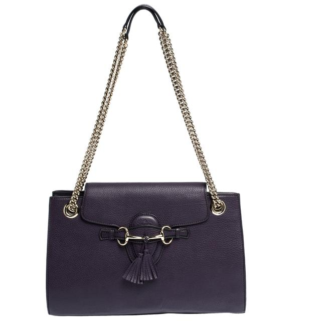Item - Emily Chain Purple Leather Large Shoulder Bag