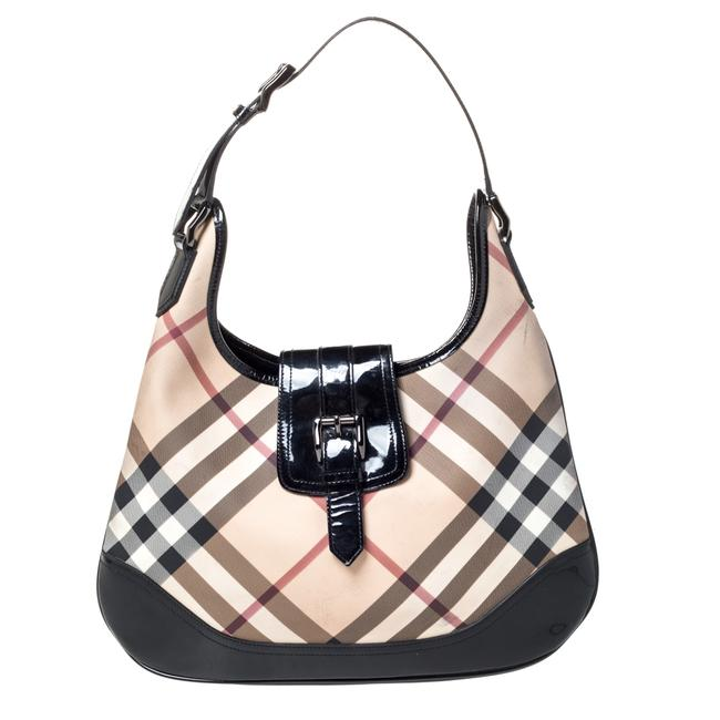 Item - Beige/Black Nova Check Pvc and Patent Leather Large Brooke Hobo Bag