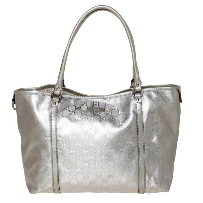 Item - Silver Gg Imprime Canvas and Leather Medium Joy Shopper Tote