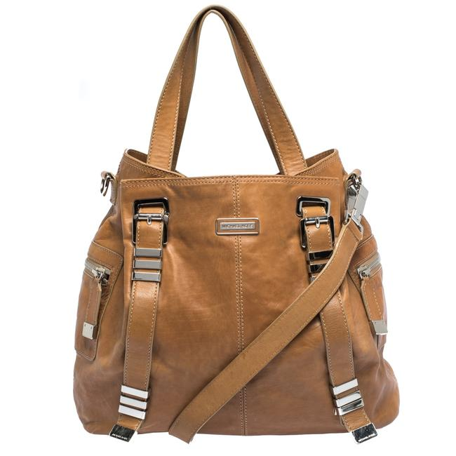 Item - Tan Leather Buckle Strap Convertible Tote