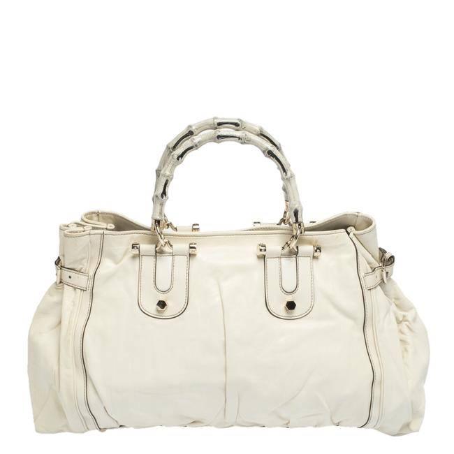 Item - White Leather Large Bamboo Pop Tote