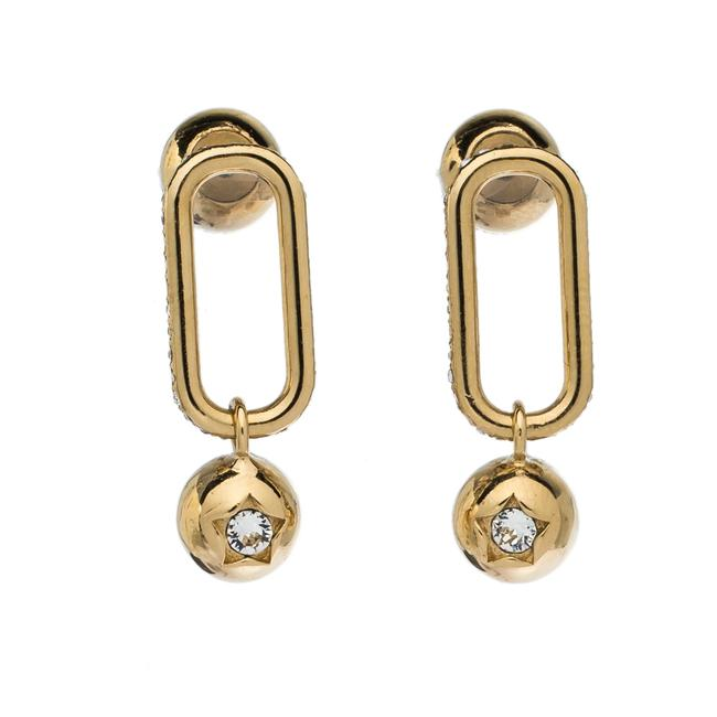 Burberry Crystal Charm Gold Tone Drop Earrings Jewelry Burberry Crystal Charm Gold Tone Drop Earrings Jewelry Image 1