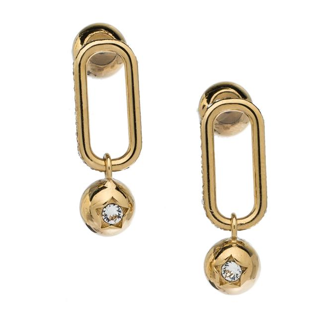Burberry Crystal Charm Gold Tone Drop Earrings Jewelry Burberry Crystal Charm Gold Tone Drop Earrings Jewelry Image 3