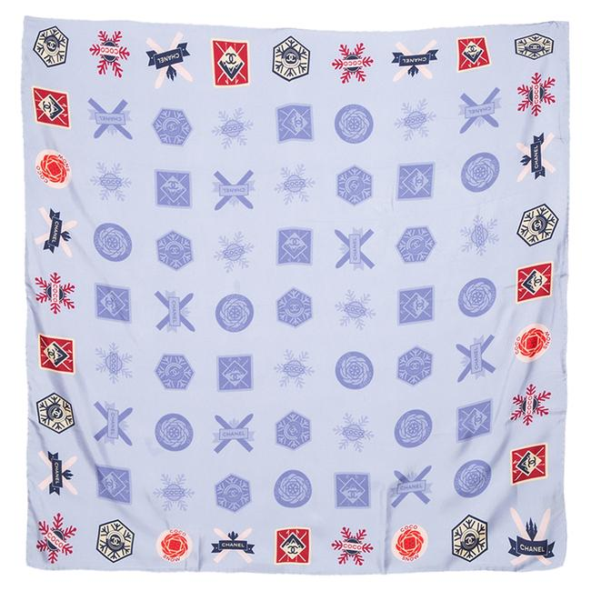 Item - Blue Coco Snow Print Silk Square Scarf/Wrap