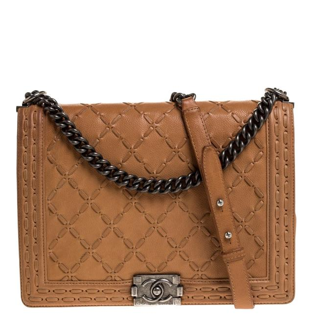 Item - Classic Flap Boy Cream Quilted Stiched Leather Large Shoulder Bag