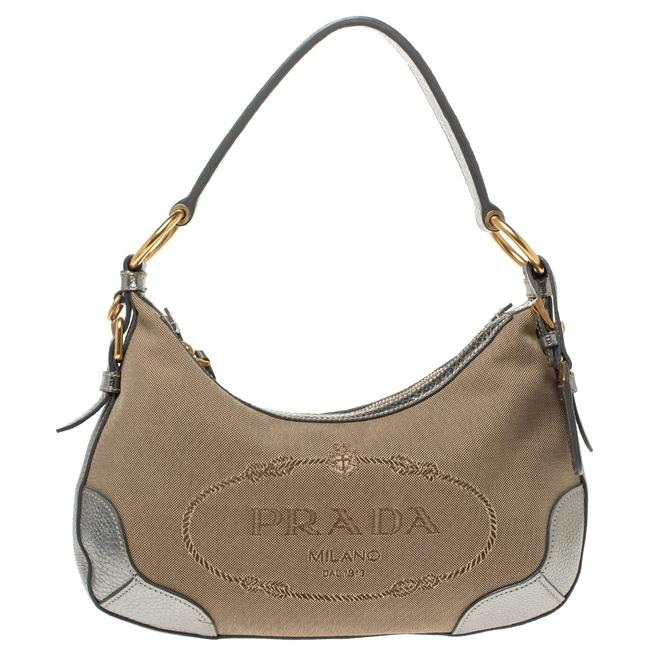Item - Silver/Beige Logo Jacquard Canvas and Leather Hobo Bag