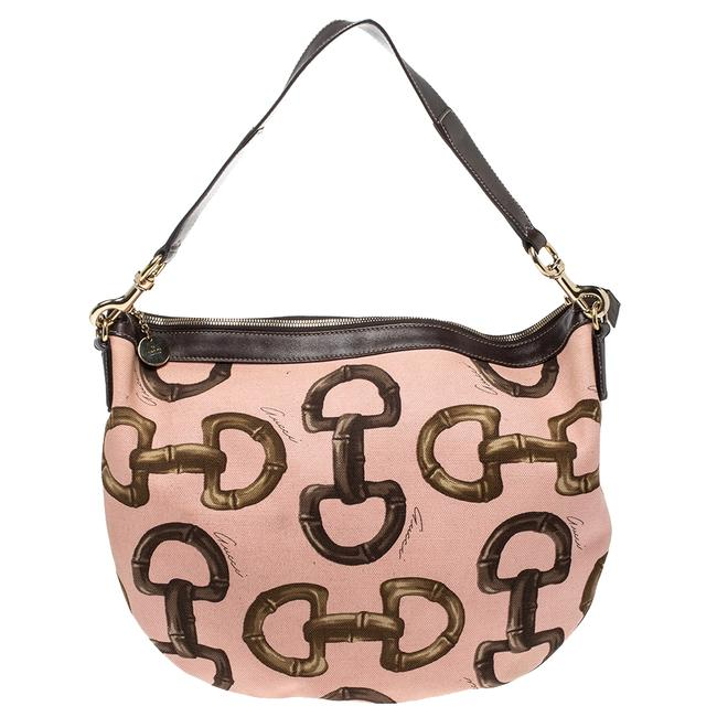 Item - Horsebit Pink/Brown Canvas and Leather Hobo Bag