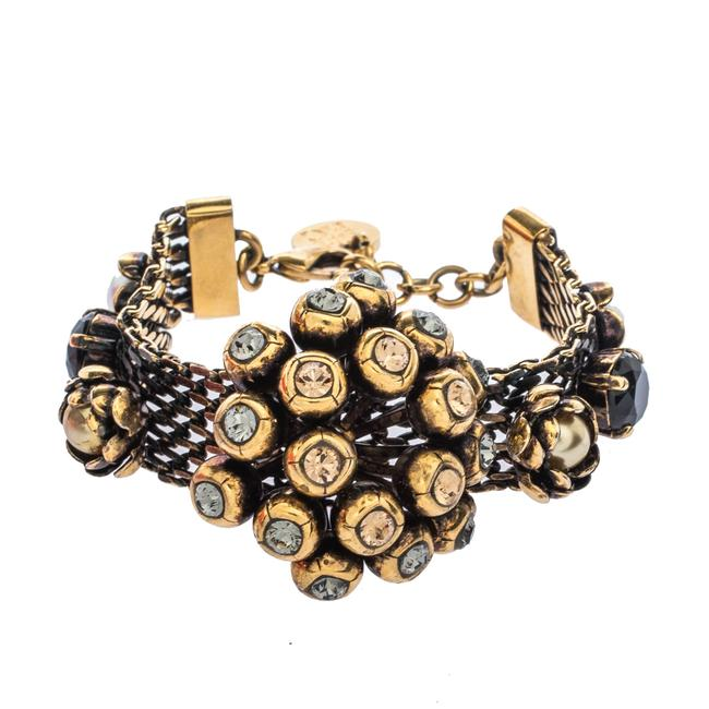 Item - Crystal Faux Pearl Embellished Gold Tone Statement Bracelet Jewelry
