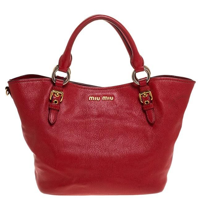 Item - Red Madras Leather Tote