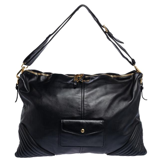 Item - Black Leather Biker Cloud Hobo Bag