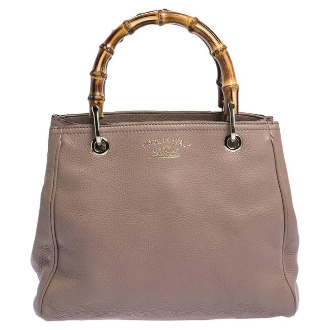 Item - Nude Beige Leather Bamboo Handle Tote