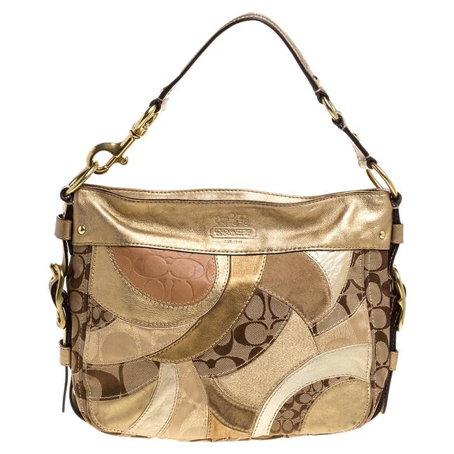 Item - Beige/Metallic Signature Patched Canvas and Leather Hobo Bag