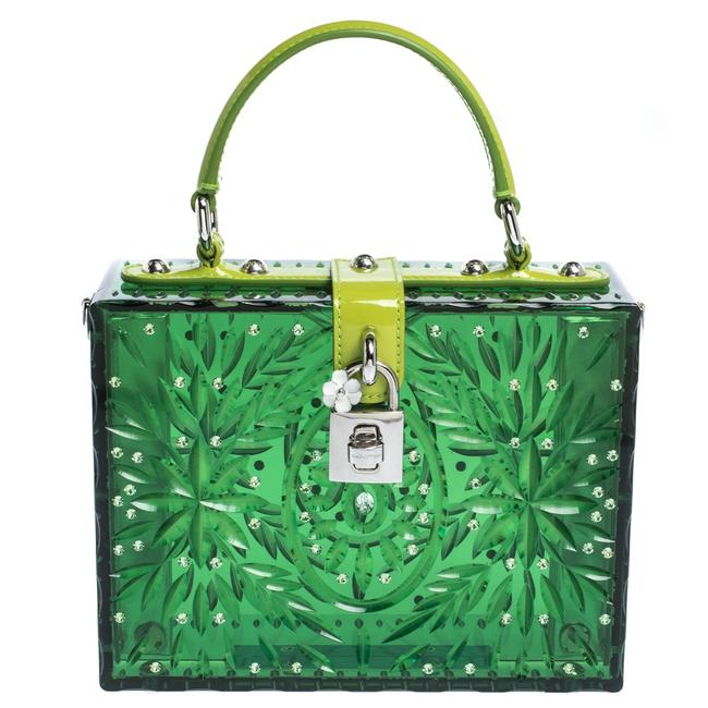 Item - Top Handle Bag Box Dolce & Gabbana Green Acrylic and Patent Leather Cinderella Dolce Wristlet