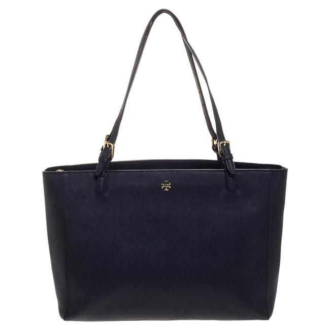 Item - Navy Blue Leather Large York Buckle Tote