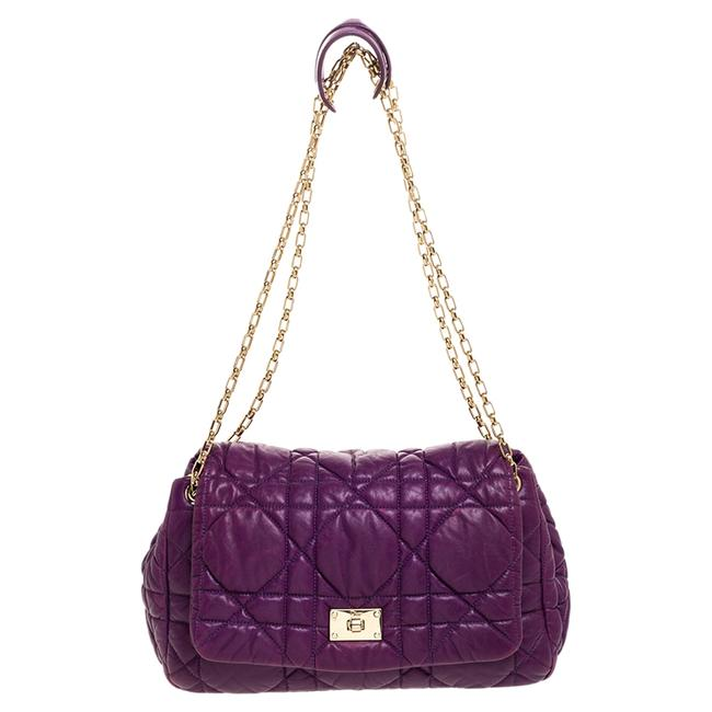 Item - Purple Cannage Leather Chain Flap Shoulder Bag