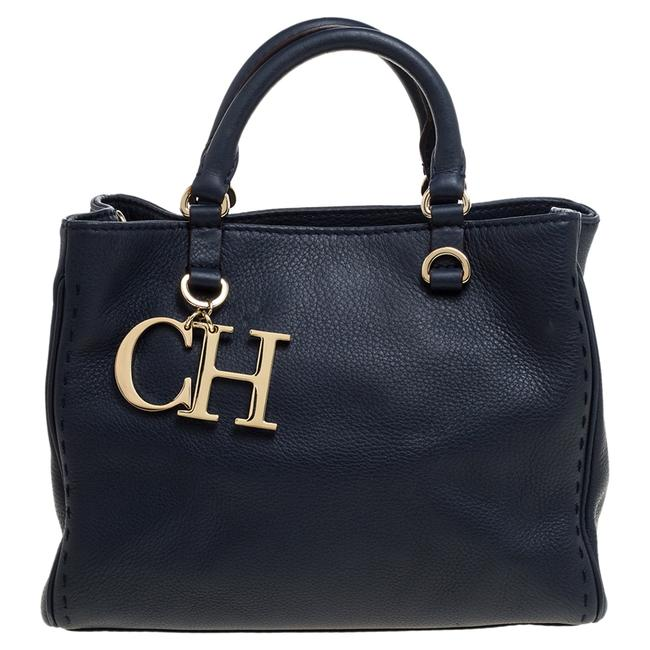 Item - Navy Blue Leather Charm Tote