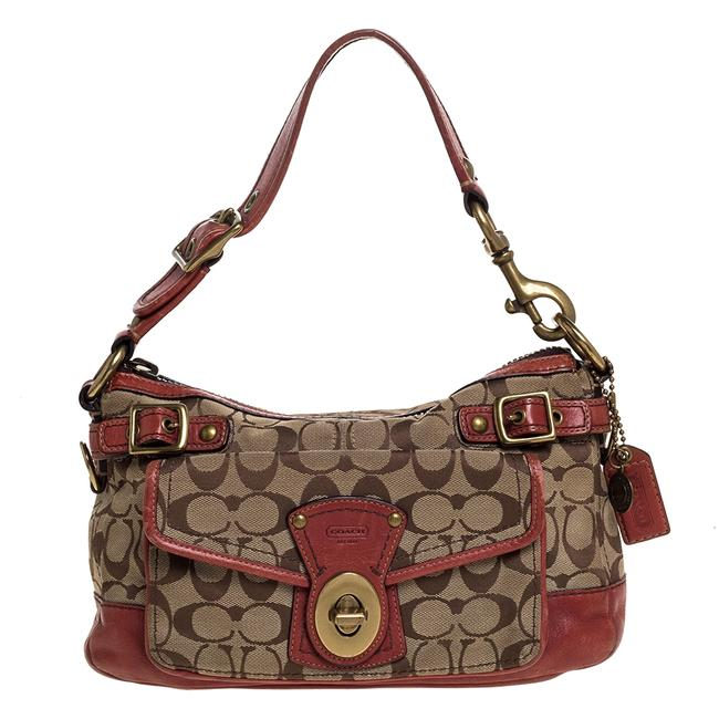 Item - Beige/Pale Red Signature Canvas and Leather Hobo Bag