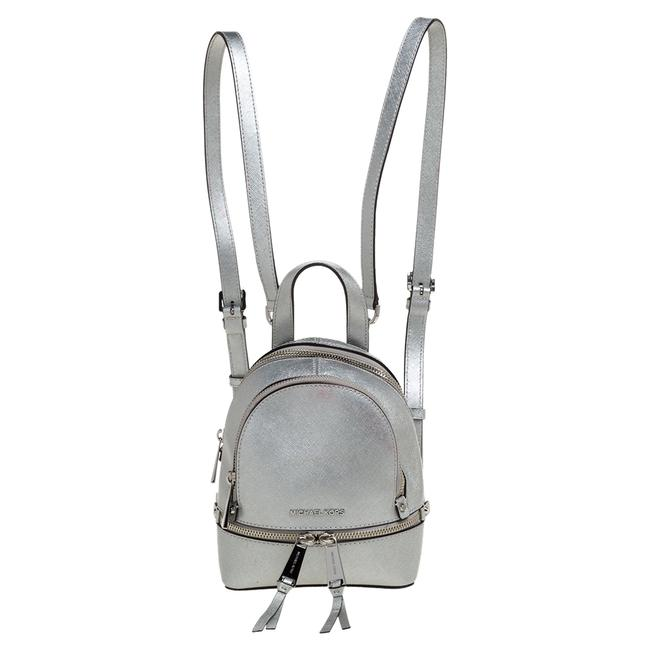 Item - Silver Leather Mini Rhea Backpack