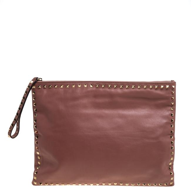 Item - Old Rose Leather Oversized Rockstud Wristlet Pouch Clutch