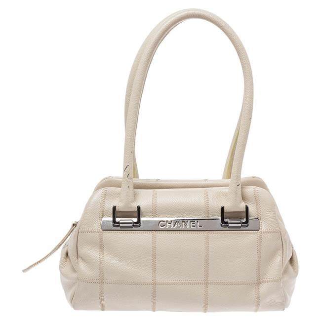 Item - Off White Choco Bar Quilted Leather Satchel