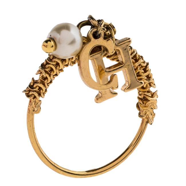 Item - Gold Tone Logo Charms Ring Size Eu 50.5 Jewelry