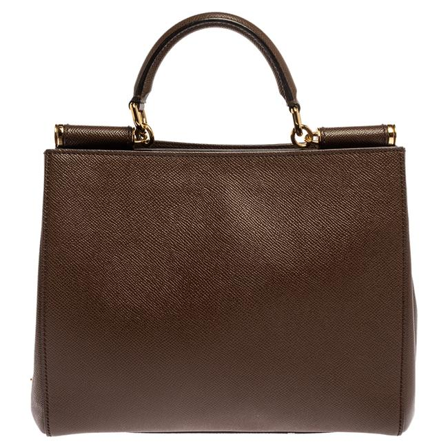 Item - Top Handle Bag East West Dolce and Gabbana Brown Grained Leather Sicily Wristlet