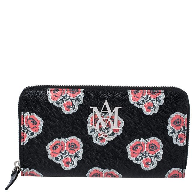 Item - Black/Red Floral Print Leather Zip Around Continental Wallet