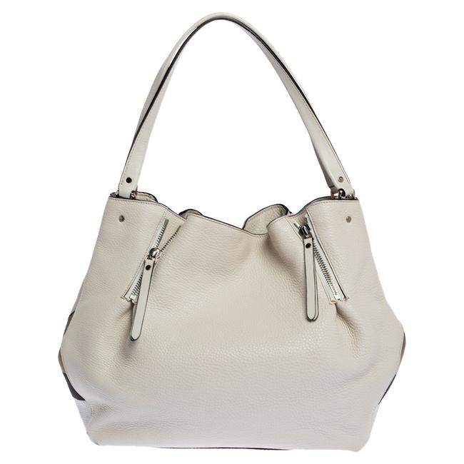 Item - Ivory Leather and House Check Canvas Medium Maidstone Tote