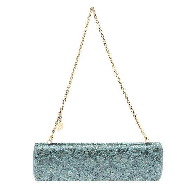Item - Powder Blue Lace and Satin Chain Clutch