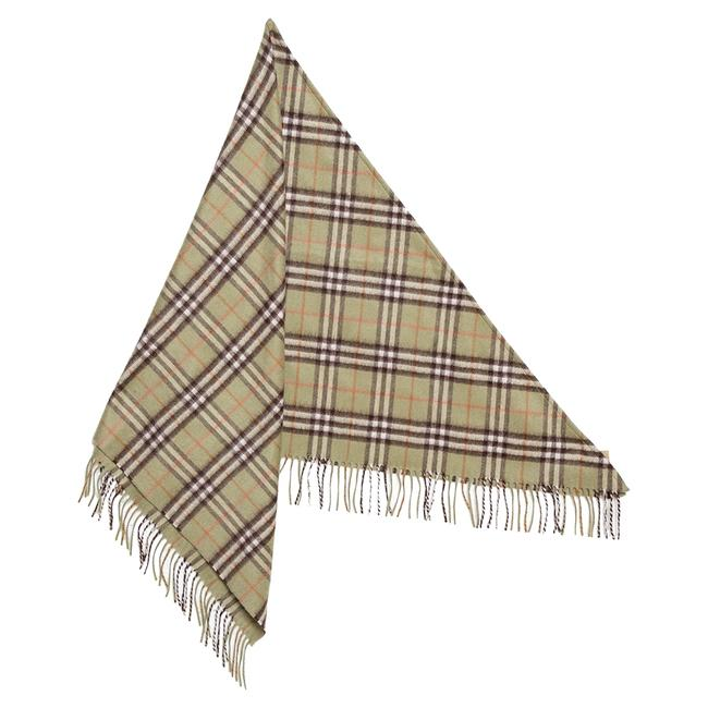 Item - Pale Powder Green Vintage Check Cashmere Bandana Scarf/Wrap