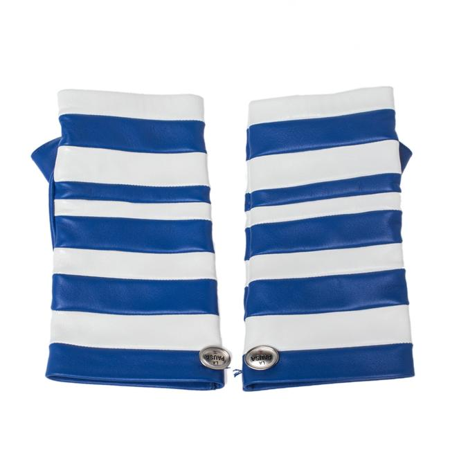 Item - Blue/White Striped Leather Fingerless Gloves Tech Accessory